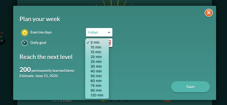 Set up your goal in Worddive app