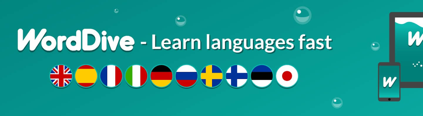 WordDive banner logo with many languages