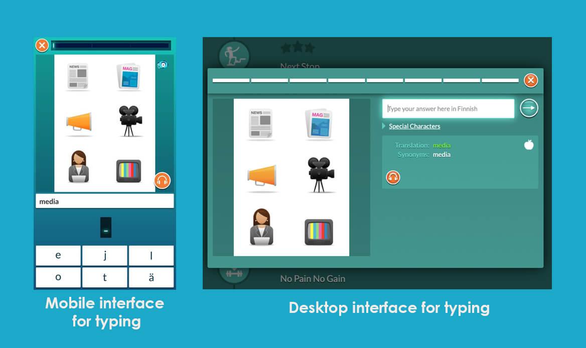 Worddive comparison desktop versus mobile