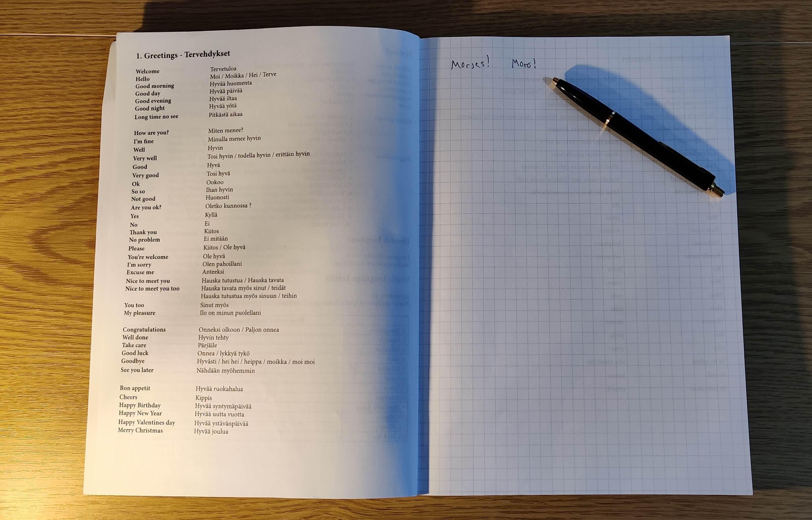 Ultimate Finnish Notebookin ensimmäinen aukeama